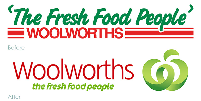 Woolworths logos before and after rebrand